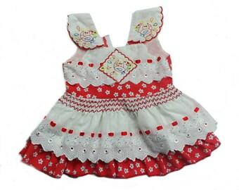 Vintage Baby Girls Flutter Top Embroidered Size 9-12