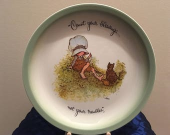 """Holly Hobbie """"Count Your Blessings"""" Collector's Edition Plate, 1972"""