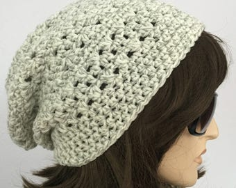 Womens Crochet Hat Slouchy Hat in Shadow of Light Grey Winter Accessories Autumn Accessories Fall Fashion