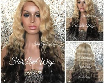 Long Lace Front Wig - Blonde Brown Ombre - Body Wave - Wavy - Layers - Side Part - Heat Resistant Safe
