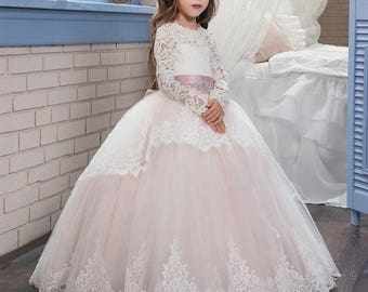 Luxe Flower Girl Dress, Quinceanera Dress, Elegant Long Sleeve Detail, Junior Bridesmaid Dress Father Daughter Dance Dress, Southern Belle
