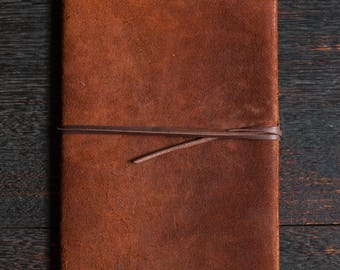 A5 Leather Note Book - Kangaroo Leather (Chocolate Brown)