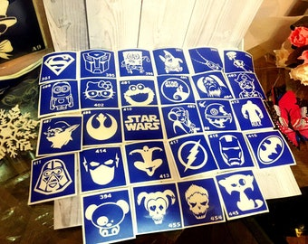 "Stencils for temporary tattoos. ""Superhero"" set, 28 pieces. Glitter tattoo. Adhesive stencils.Body art tattoo /face painting stencils"
