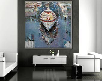 """Boat Painting, Boat Art, 40x40""""/100x100cm oil Painting"""