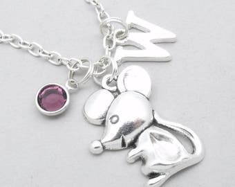 Mouse monogram necklace | mouse charm necklace | mouse pendant | personalised mouse necklace | mouse jewelry | letter | birthstone