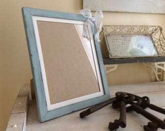 Wooden Picture Frame, distressed vintage green shabby cottage country  decor gift
