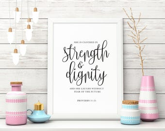 Proverbs 31 Digital Download, Printable, Calligraphy, Bible Verse, Wall Art