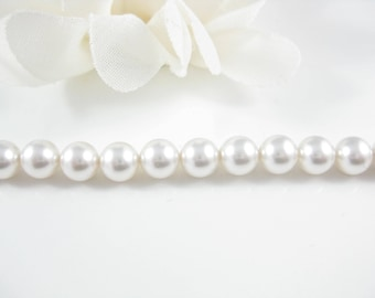 50PC, 6mm White Swarovski Pearls, Wedding Supply, Swarovski Beads, White Pearl Supplies (5810)