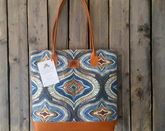 Large Canvas Tan Brown Leather Tote bag