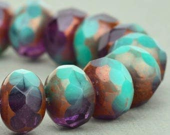 Czech glass Rondelle (9x6mm) Turquoise Purple Mix Transparent Opaque with Bronze , (8 beads), UK beads