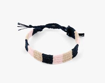 Friendship Handwoven Bracelets-Baby Pink+Beige+Indigo,weaving jewelry,Hand woven bracelet,best friend gift,Yarn Bracelet, Boho Jewelry