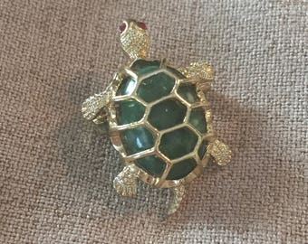 Adorable Green and Gold Toned Turtle Brooch or Pin