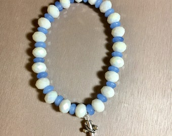 Bule and white anchor charm bracelet, blue and white, anchor, charm bracelet