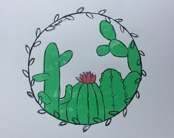 A3 Cacti Screen Print
