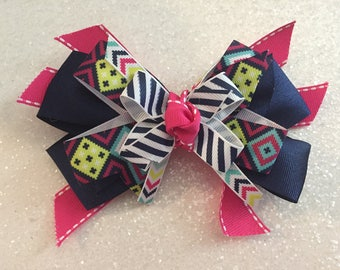 """Navy & Pink Aztec 5"""" Bow with Gator Clip"""
