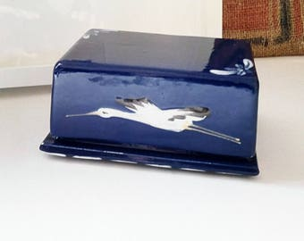 Blue butter dish vintage ceramic. France 1980.