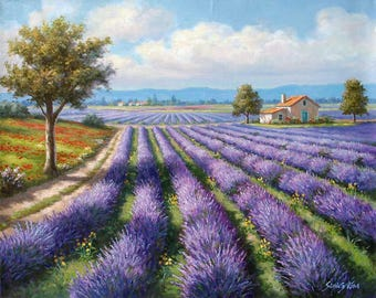 "Lavender Rows - Traditional Oil Painting Landscape 30"" x 24"" by Sung Kim"