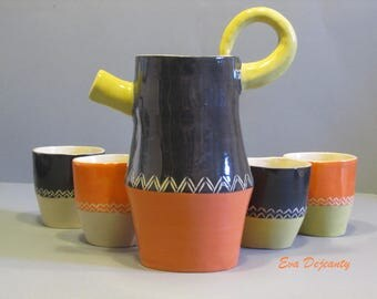 Pitcher and its cups ceramic handmade