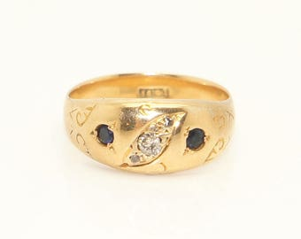 Antique Victorian 18ct Gold Diamond & Sapphire Gypsy Ring, Size J, 2.9g