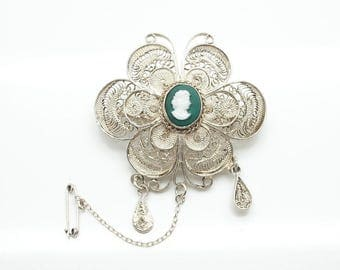 Vintage .900 Silver Large Filigree Flower Pin Brooch With Green Cameo Center