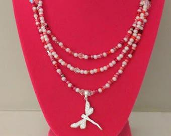 Red & White Beaded Necklace with Swarovski Dragon Pendant