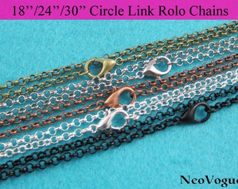 50 - 24 inch and 30 inch circle link Rolo Chain Necklace, Metal Necklace Chain, Link Chain Necklace - Free Shipping