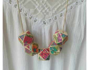 Liberty Print Fabric Material Hexagon Wooden Bead Necklace on tan cord