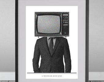 Mr Tv Head A4 Art Print Poster Graphic Design
