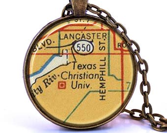 Texas Christian University TCU Map Pendant Necklace - Created from a 1956 map. Map Jewelry, Map Necklace, Map Pendant, Custom Map Jewelry