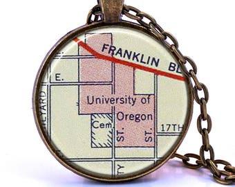 University of Oregon Map Pendant Necklace - Created from a 1927 map. Map Jewelry, Map Necklace, Map Pendant, Custom Jewelry, Personalized