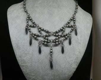 Victorian style necklace, statement, dark steel, pearls and black drops in Bohemia crystal glass