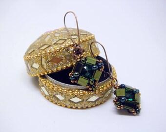 "Earrings ""Emerald simplicity"" - short earrings - crystals earrings - geometrical earrings - green earrings - gift for her - dangle earrings"