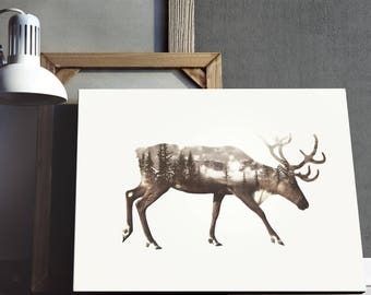 Deer Print, Double Exposure Art, Woodland Animal Art, Forest Deer Print, Trees Landscape Art , Instant Download Art, Printable Art Download