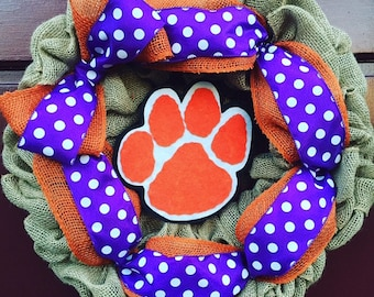 Clemson Tigers Collegiate Burlap Wreath