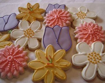 Assorted Flower Garden | Custom decorated cookies | Mother's Day | Spring flowers | English Garden | Tiger Lily