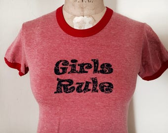 "Teeze ""Girls Rule"" Women's Red Ringer T-Shirt"