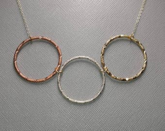 Rose, silver and gold 3 ring necklace
