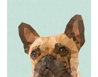 Frenchie - French Bulldog geometic print
