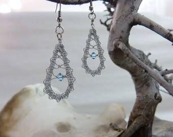 Lace earrings, bobbin lace earrings, lace jewelry, handmade jewelry, handmade earrings, handmade lace, bobbin lace jewelry,Swarovski crystal