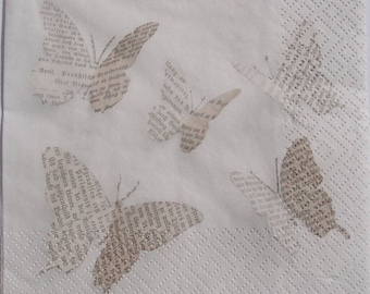 Decoupage Paper Napkin x4 Butterfly Newspaper Paper for Decoupage Craft Scrapbooking 015