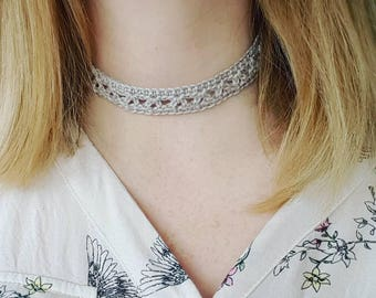 Silver thin crocheted choker necklace, gifts for her, jewellery