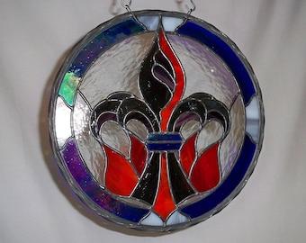 Stained Glass Fleur de Lis