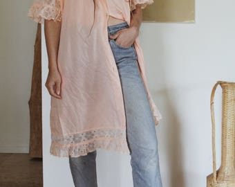 Vintage Women's Pink Night Gown | Lace Blouse