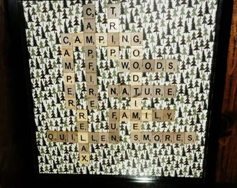"Camping themed 12""x12"" Scrabble picture with black shadowbox"