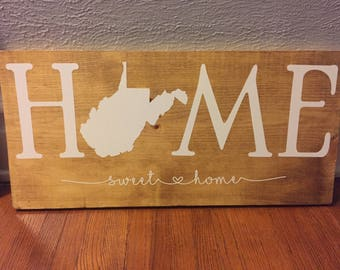 HOME sweet home state sign