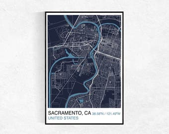 Sacramento wall map Etsy