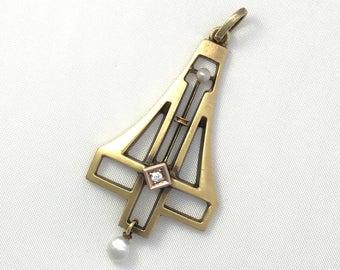 1910 Jugendstil 14CT Gold, Diamond and Seed Pearl Pendant