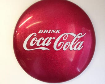 "Red Metal Flake 24"" Coke Button Sign"
