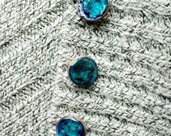 Turquoise-Blue Buttons, Handmade Shank Buttons, Set of Six