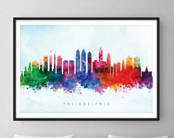 Philadelphia Skyline, Philadelphia Pennsylvania Cityscape Art Print, Wall Art, Watercolor, Watercolour Art Decor